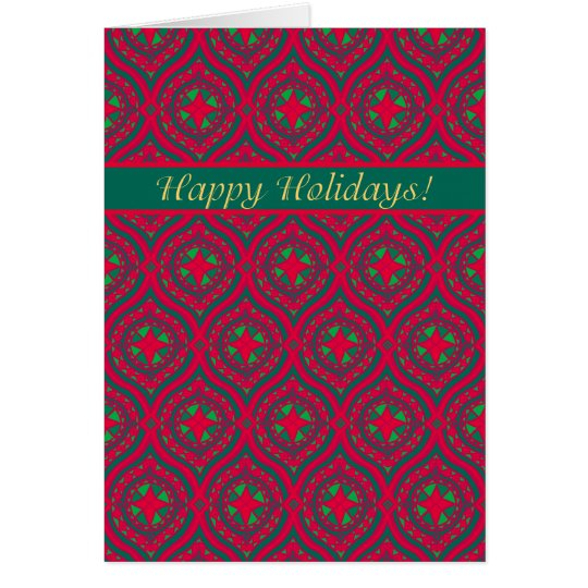 Happy Holidays, Christmas Red, Green Baubles Card