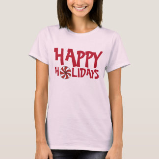 Happy Holidays Christmas Red Peppermint Candy Cane T-Shirt