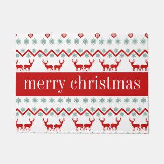 Happy Holidays | Christmas Reindeer Chevron Doormat