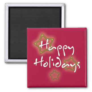 Happy Holidays Christmas Stars Square Magnet