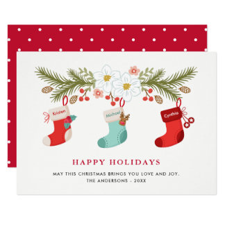 Happy Holidays Christmas Stockings 3 Family Names Card
