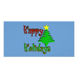 Happy Holidays Christmas Tree Customised Photo Card