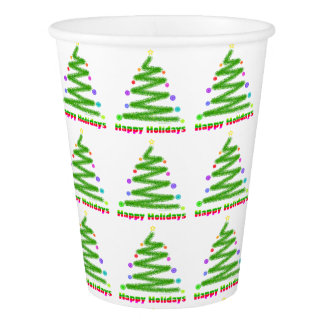 HAPPY HOLIDAYS CHRISTMAS TREE PAPER CUP
