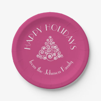 HAPPY HOLIDAYS Christmas Tree Personalized Paper Plate
