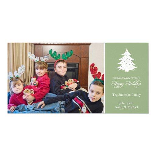 Happy Holidays Christmas Tree Photo Card (Sage)