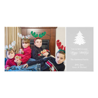 Happy Holidays Christmas Tree Photo Card (Silver)