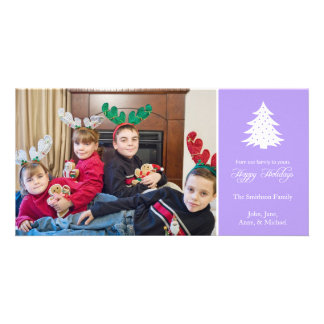 Happy Holidays Christmas Tree Photo Card (Violet)