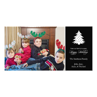 Happy Holidays Christmas Tree Photo Cards (Black)