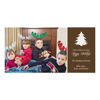 Happy Holidays Christmas Tree Photo Cards (Brown)