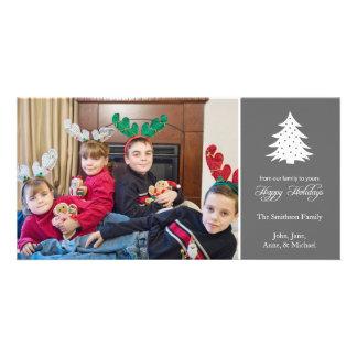 Happy Holidays Christmas Tree Photo Cards (Gray)