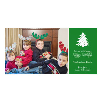 Happy Holidays Christmas Tree Photo Cards (Green)