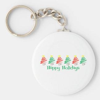 Happy Holidays (Christmas Trees) Basic Round Button Key Ring