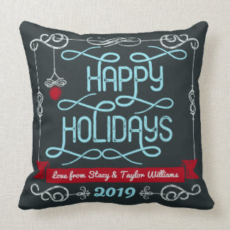 Happy Holidays Christmas Typography Custom Banner Cushion