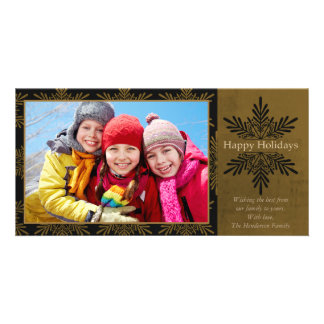 Happy Holidays Classic Snowflake Personalized Photo Card