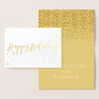 Happy Holidays Classic Typography Design Foil Card