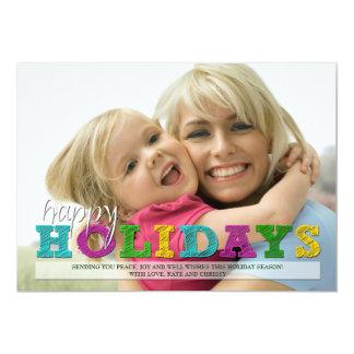 Happy Holidays Colorful Christmas Photo Card 13 Cm X 18 Cm Invitation Card