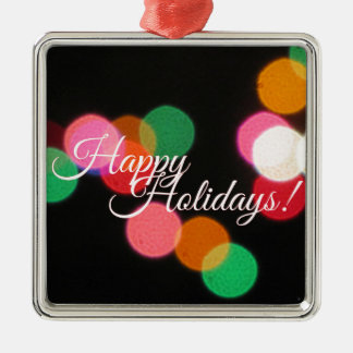 Happy Holidays Colorful Lights! Silver-Colored Square Decoration