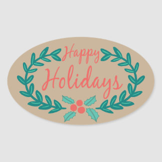 HAPPY HOLIDAYS COLORFUL WREATH KRAFT PAPER OVAL STICKER