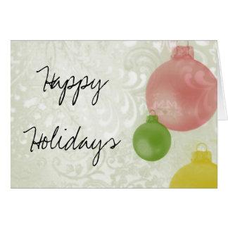 Happy Holidays: Colourful Christmas Ornaments Card