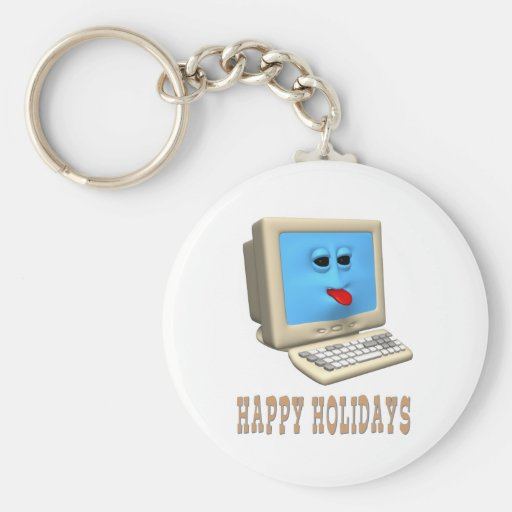 HAPPY HOLIDAYS COMPUTER GREETING KEY CHAIN
