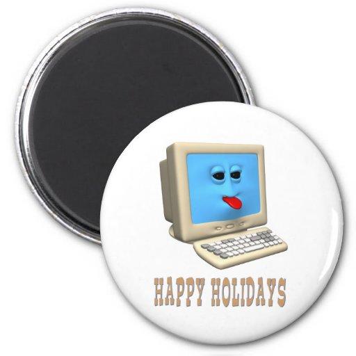 HAPPY HOLIDAYS COMPUTER GREETING FRIDGE MAGNET