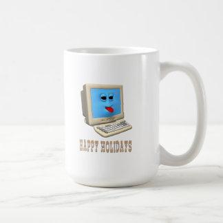 HAPPY HOLIDAYS COMPUTER GREETING COFFEE MUGS