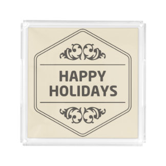 Happy Holidays Custom Background Acrylic Tray