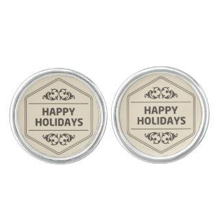 Happy Holidays Custom Background Cuff Links