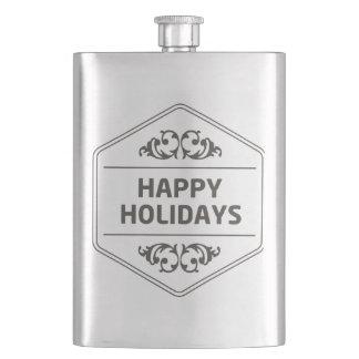 Happy Holidays Custom Background Hip Flask