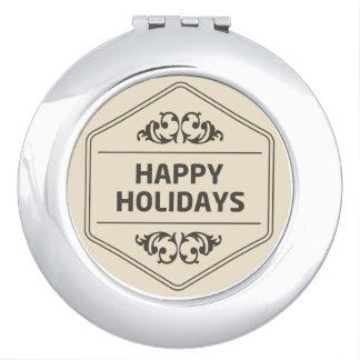 Happy Holidays Custom Background Makeup Mirrors