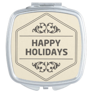 Happy Holidays Custom Background Mirrors For Makeup