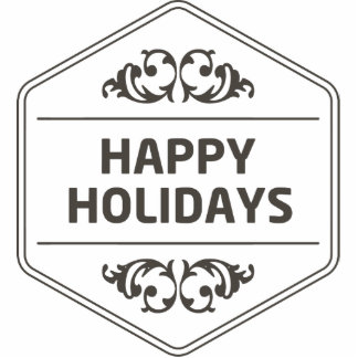 Happy Holidays Custom Background Photo Sculpture Badge