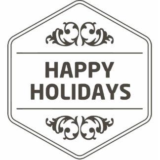 Happy Holidays Custom Background Photo Sculpture Badge