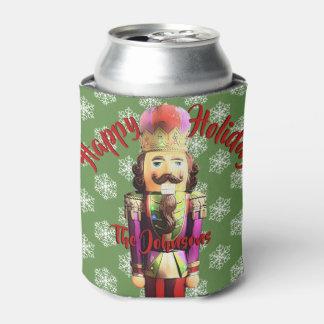 Happy Holidays Custom Name Nutcracker Can Cooler