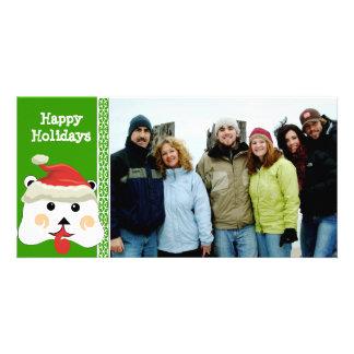 Happy Holidays Cute Bear Family Photo Card
