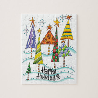 Happy Holidays! Cute Christmas Trees with Stars Jigsaw Puzzle