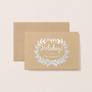 HAPPY HOLIDAYS CUTE HAND-DRAWN HOLLY WREATH FOIL CARD