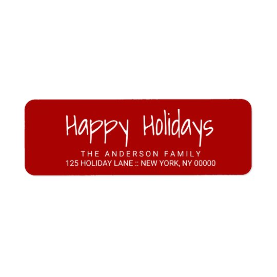 Happy Holidays Cute Hand-Printed Lettering Label Return Address Label