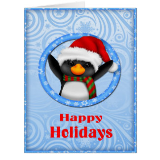 Happy Holidays Cute Penguin Card