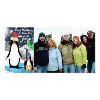 Happy Holidays Cute Penguin Family Photo Card