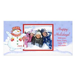 Happy Holidays Cute Snowman Customized Photo Card
