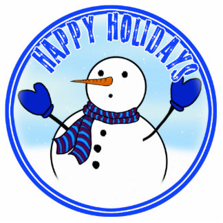 Happy Holidays - Cute Snowman With Blue Mittens Cut Out