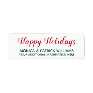 Happy Holidays . December best wishes red&green Return Address Label