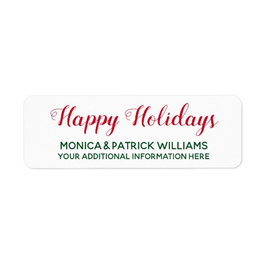 Happy Holidays . December best wishes red&green Return Address Label