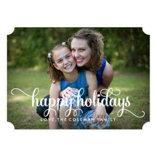 Happy Holidays Elegant Family Photo Card