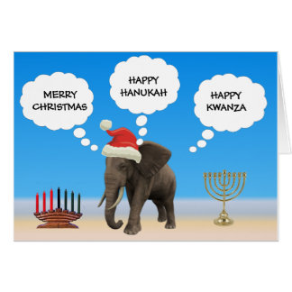 Happy Holidays Elephant Card