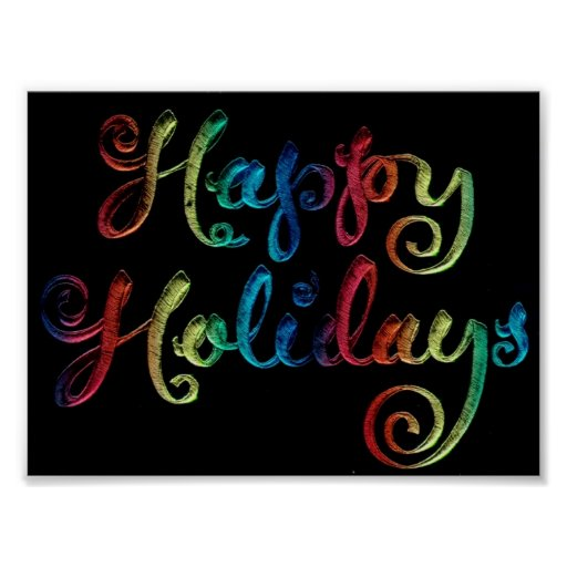 """Happy Holidays """"Embroidered"""" Poster"""