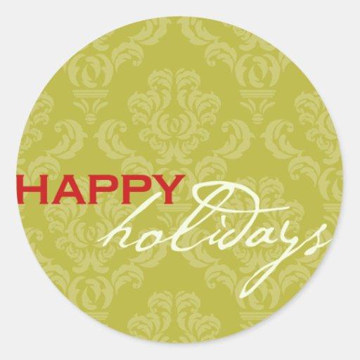 Happy Holidays Envelope Enclosure Round Stickers