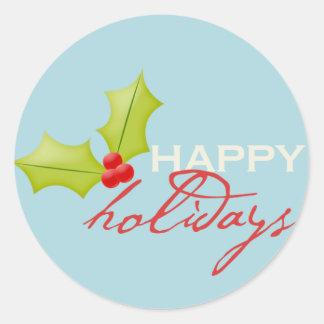 Happy Holidays Envelope Enclosure Round Sticker