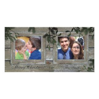 Happy Holidays Family 2 Photo Card - Barn Board